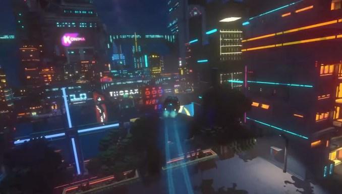 Das Bild zeigt die futuristische Stadt Nivalis in Cloudpunk.