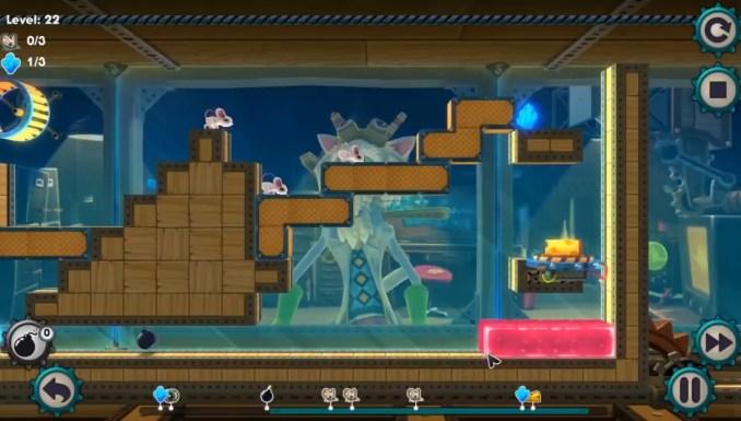 Auf dem Bild zu sehen ist, wie wir mit den aus Tetris bekannten Blöcken, den Mäusen ihren Weg aus dem Dungeon ebnen.
