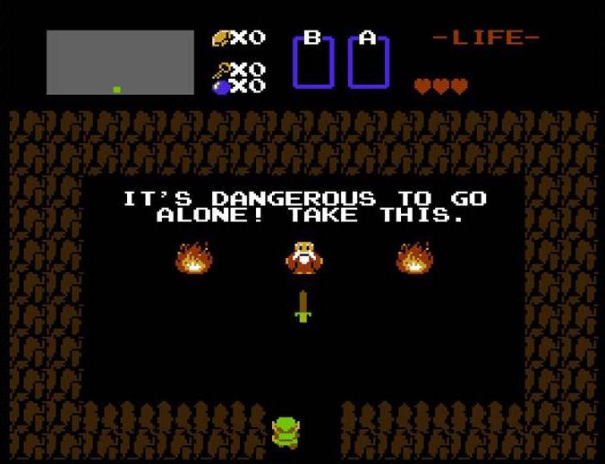 Das Bild zeigt die bekannte Eingangsszene aus The Legend of Zelda.