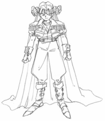 Das Bild zeigt eine schematische Zeichnung der dunklen Majestät. Sie ist eine der drei Entbosse von Trials of Mana.