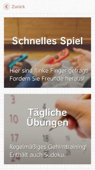 """Das Bild zeigt die zwei Spielmodi """"Schnelles Spiel"""" und """"Tägliche Übungen""""."""