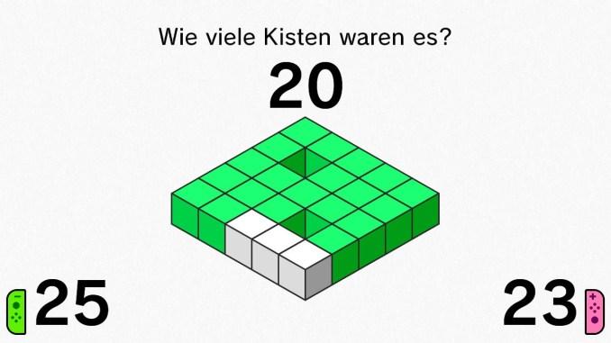 Das Bild zeigt die Auswertung eines Durchganges von Kisten zählen.
