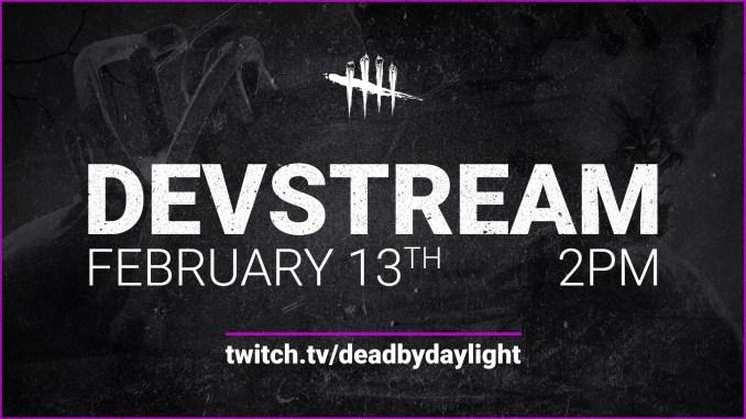 Das Bild zeigt die Ankündigung von Dead by Daylight zum anstehenden Livestream.