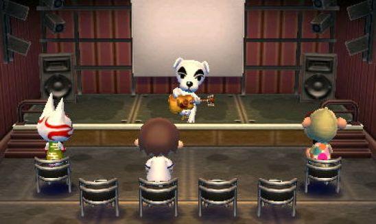 Das Bild zeigt K. K. Slider, welcher auf einer Bühne steht. Der bekannte Musiker der Animal Crossing-Serie spielt vor drei Zuschauern.