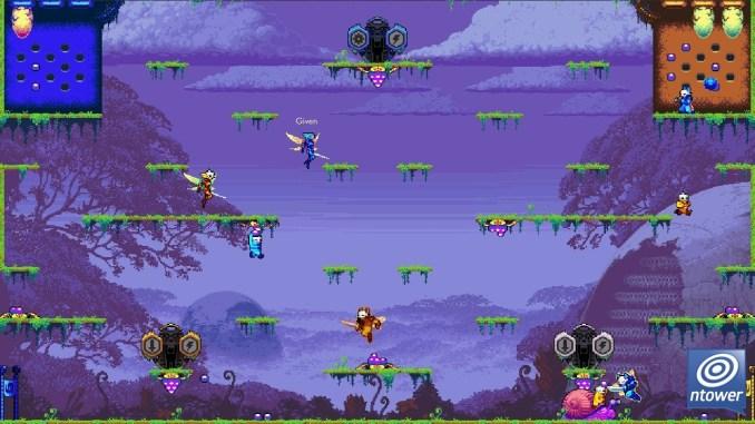Das Kampffeld von Killer Queen Black ist zu sehen. In der rechen und linken oberen Ecke erkennt man die Bienenstöcke gefüllt mit blauen Beeren. Auf dem Spielfeld selber schweben einzelne Plattformen. Die Bienen schweben in unterschiedlichen Farben übers Feld.