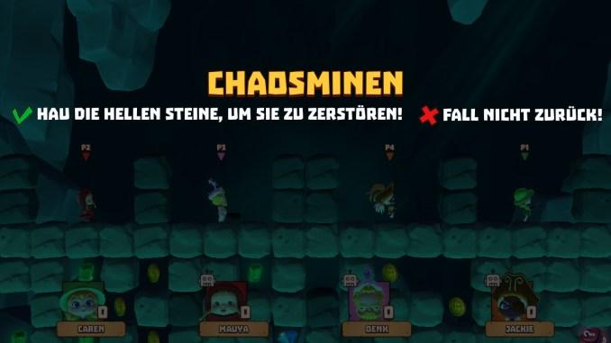 Das Bild zeigt das Minispiel Chaosminen. Dieses orientiert sich an Boulderdah. Alle viel Spieler von Marooners starten auf der selben Höhe.