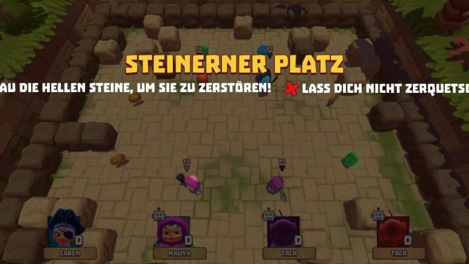 Das Spiel Steiniger Platz ist zu sehen. Alle vier Charaktere stehen in einer Box und weichen herunterfallenden Steinen aus. Die Beschreibung des Spiels passt nicht komplett auf den Screen.