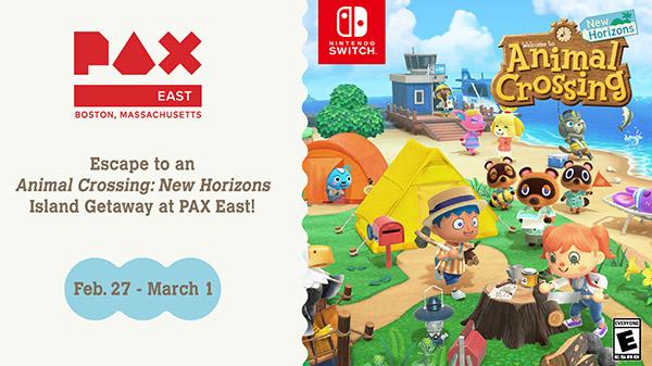 Das Bild zeigt einen Flyer der PAX East 2020 von Nintendo. Man sieht ein Bild von Animal Crossing: New Horizons, welches auch das Motiv für den Stand von Nintendo geliefert hat.