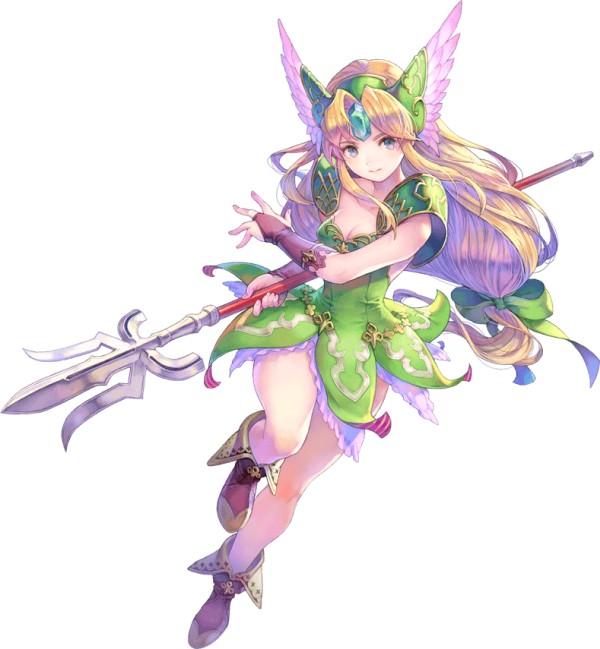 Das Bild zeigt Riesz, einen der sechs spielbaren Charakter in Trials of Mana. Vom Design her erinnert sie an eine Elfe. Sie trägt ein grünes Kleid und hat einen Speer in der Hand. Ihre Haare sind blond und ihre Stirn ziert ein blauer Edelstein.