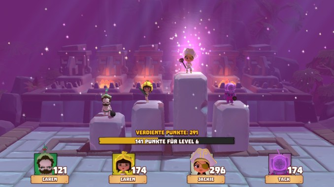Man sieht die Siegerehrung in Marooners. Vier Charaktere stehen auf Steinen. Der Charakter, der gewonnen hat, steht auf dem höchsten Stein und wird angeleuchtet.