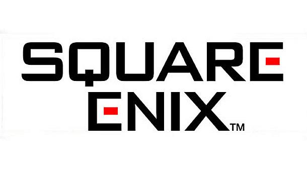 Das Bild zeigt das Logo von Square Enix, dem Entwickler von Trails of Mana. Es sind schwarze Buchstaben auf weißem Grund. Der mittlere Stich beim E ist rot.