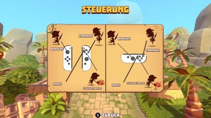 Der Screenshot zeigt die Steuerung von Marooners. Man kann sowohl mit zwei Joycons, wie auch mit einem einzelnen Joycon spielen.