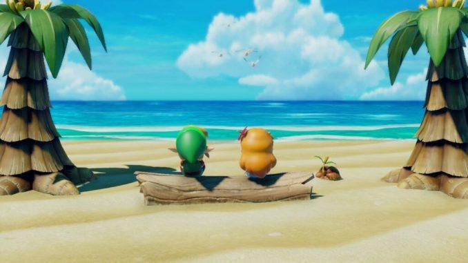 Das Bild zeigt die bekannteste Zwischensequenz von The Legend of Zelda: Link's Awakening. Man sieht den Protagonisten Link und seine Angebetete Zelda auf einem Baumstamm am Strand sitzen.