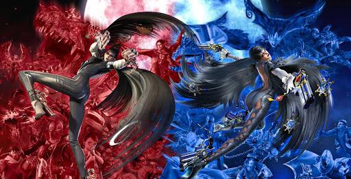 Das Bild zeigt ein Werbebild zu den ersten beiden Bayonetta-Spielen.