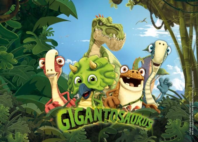Das Bild zeigt den Screen von der Disney Junior Sendung Gigantosaurus.