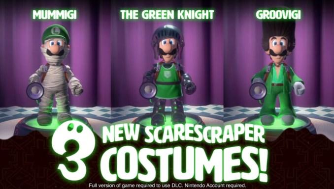Das Bild zeigt die drei neuen Kostüme aus dem ersten Teil des Multiplayer-Packs von Luigi's Mansion 3.