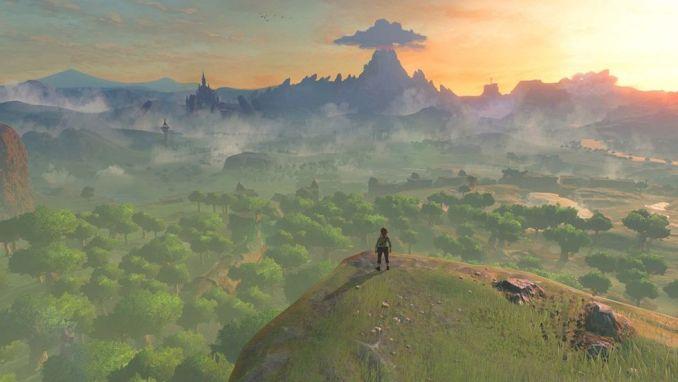 Das Bild zeigt Link, wie er Hyrule in Breath of the Wild überblickt.