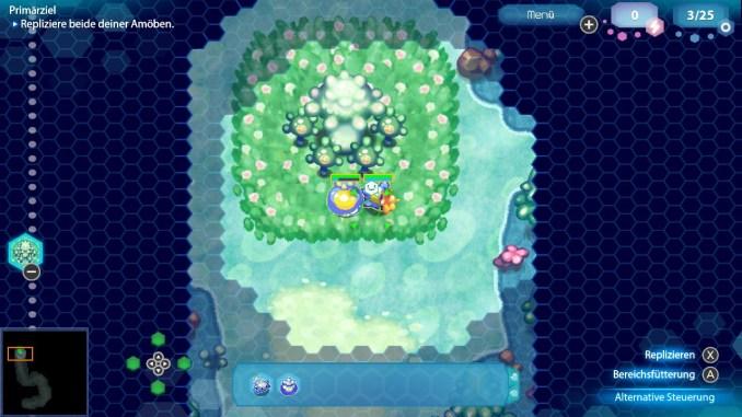 Das Bild zeigt ein Algenfeld in Amoeba Battle. Es handelt sich um eine grüne Fläche in welcher Algen gedeien. Zwei Einheiten sind zu sehen, eine hat sich zum Ei verpuppt.