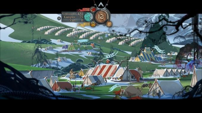 Auf dem Bild ist eines unserer Feldlager zu sehen. Hier können wir das Klan und Kampfgruppen Managment durchführen.