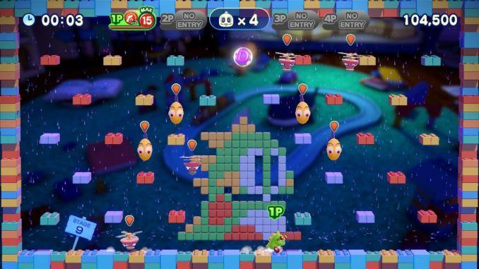 Das Bild zeigt ein Level aus Bubble Bobble 4 Friends. Ein grüner Drachen steht auf dem Boden und bereit sich auf den Angriff seiner Feinde vor.