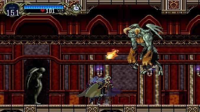 """Das Bild zeigt einen Spielausschnitt aus dem Game """"Castlevania: Symphony of the Night"""". Der Protagonist steht vor einem fliegenden Gegner."""