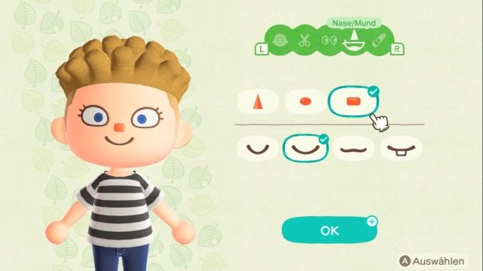 Das Bild zeigt einen wichtigen Teil von Animal Crossing: New Horizons. Man erkennt Gestaltungselemente für die Nase und den Mund. Drei Nasen und vier Münder sind zu sehen.