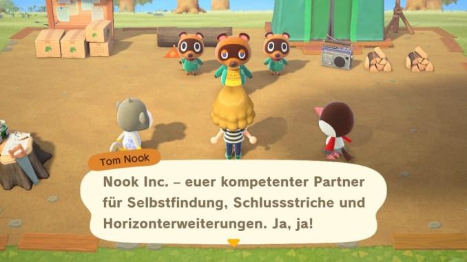 Das Bild zeigt einen wichtigen Teil von Animal Crossing: New Horizons. Man erkennt den Festplatz, Tom Nook mit Schlepp und Nepp und zusätzlich zwei Bewohner. Tom Nook führt uns gerade in das Inselleben ein.