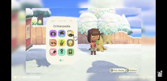 Das Bild zeigt einen Charakter in Animal Crossing: New Horizons. Er benutzt gerade das Nookphone und startet die App Critterpedia. Es ist Winter.
