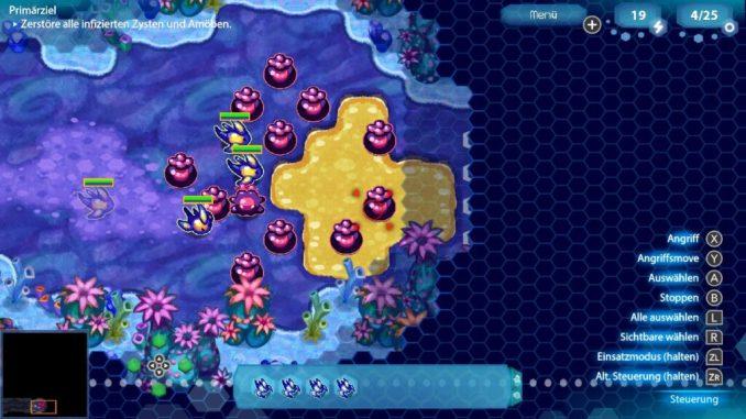 Das Bild zeigt einen Kampf gegen infizierte Einheiten in Amoeba Battle. Der Feind befindet sich noch verpuppt in seinen violetten Eiern. Lediglich eine EInheit ist bis jetzt geschlüpft.