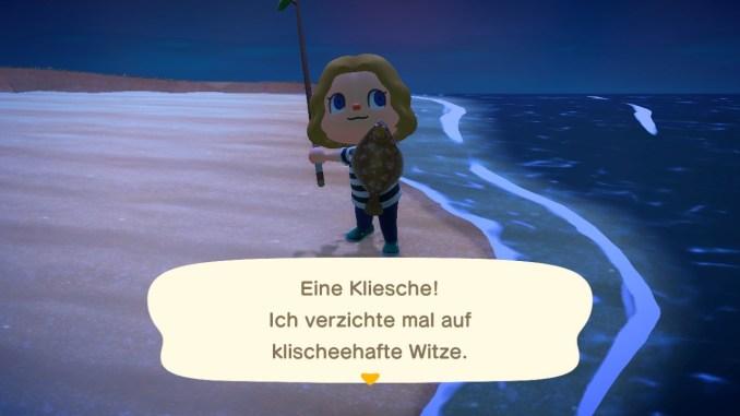 Das Bild zeigt einen wichtigen Teil von Animal Crossing: New Horizons. Man erkennt den Avatar, welcher einen Fisch präsentiert.
