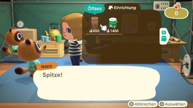 Das Bild zeigt einen wichtigen Teil von Animal Crossing: New Horizons. Man erkennt den Gemischtwarenladen von Nepp. Er bietet uns gerade Einrichtungsgegenstände an. Aktuell sind ein Ölfass und ein Wasserspeicher im Angebot.