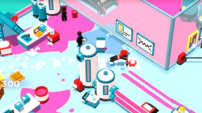Das Bild zeigt ein Level aus dem Spiel Good Job!. Der gesamte Boden ist mit violetter Farbe versaut.