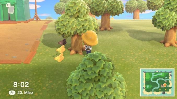 Das Bild zeigt einen wichtigen Teil von Animal Crossing: New Horizons. Man erkennt den Avatar, welcher neben einem Baum steht. Neben dem Baum liegen drei Stücke Holz. Zwei sind hell, eins ist dunkel.