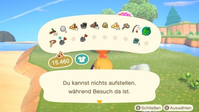 Das Bild zeigt einen wichtigen Teil von Animal Crossing: New Horizons. Man erkennt das Inventar. Aktuell hat man 20 Plätze zur Verfügung, aufgeteilt in zwei Reihen.