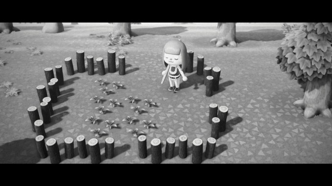 Das Bild zeigt einen wichtigen Teil von Animal Crossing: New Horizons. Mit der Kamerafunktion des NookPhones haben wir ein Foto geschossen in schwarz weiß. Der Avatar steht in einem Garten voller Unkraut.