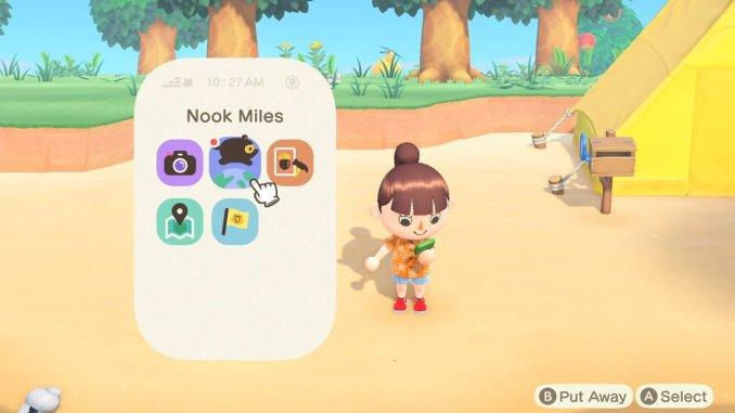 Das Bild zeigt die App Nook Meilen, eine der erklärten Funktionen in unserem Animal Crossing: New Horizons Countdown.