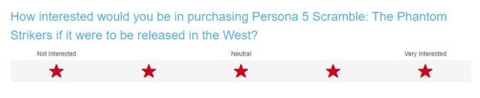 Das Bild zeigt die Frage der Umfrage von Atlus.