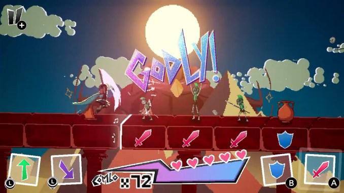 Das Bild zeigt ein Level aus Rhythm of the Gods. Durch die Bewegung des linken Joystickes und das Drücken von A oder B werden verschiedene Funktionen ausgelöst.
