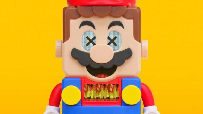 """Das Bild zeigt LEGO Mario, wie er auf """"Lava"""" reagiert."""