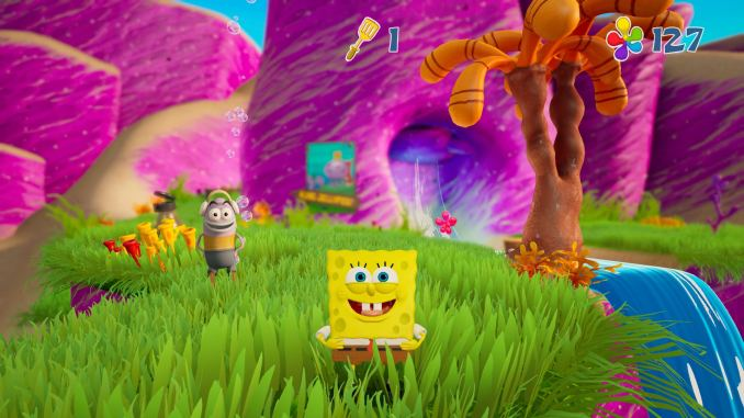 Das Bild zeigt SpongeBob in einer farbenfrohen Welt.