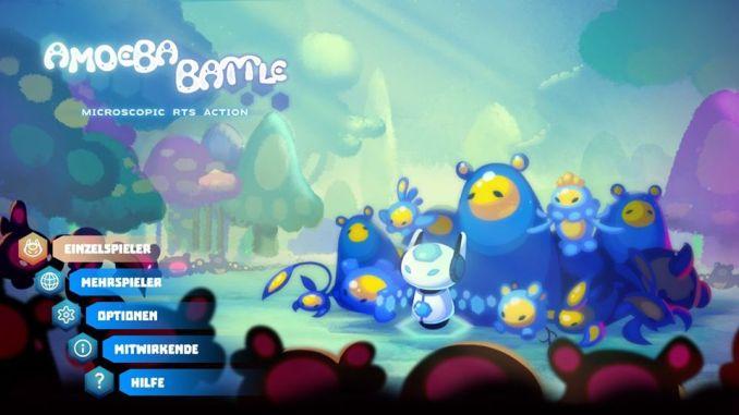 Das Bild zeigt den Startbildschirm von Amoeba Battle. Man erkennt die Reiter Einzelspieler, Mehrspieler, Optionen, Mitwirkende und Hilfe.