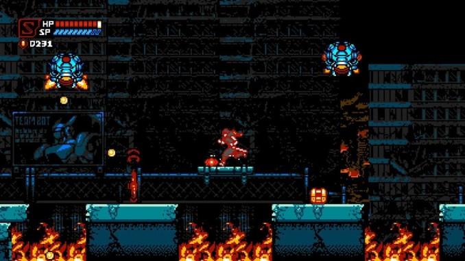 Das Bild zeigt eine actionreiche Sequenz in Cyber Shadow.