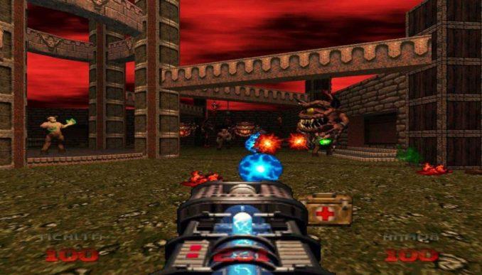Das Bild zeigt ein Screenshot von DOOM 64.