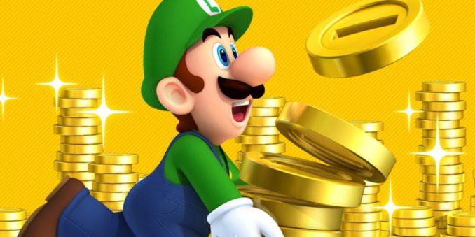 Das Bild zeigt Luigi, wie er mit lachendem Gesicht gestapelte Münzen trägt.