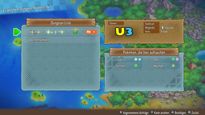 Das Bild zeigt die Dungeon-Liste samt glitzernden Dungeon.