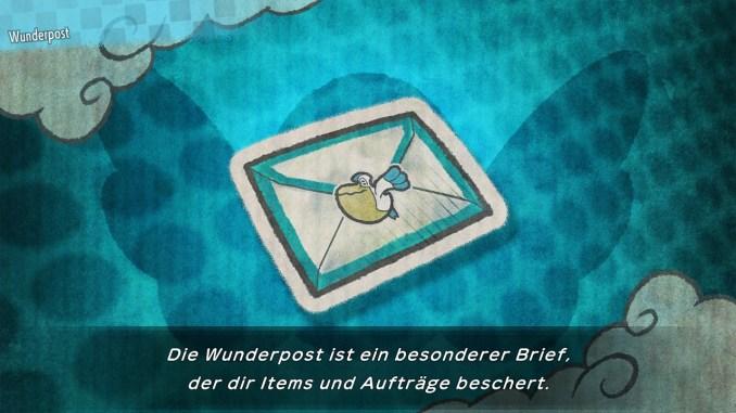 Das Bild zeigt die Wunderpost. Ein blauer Brief, welcher spezielle Aufgaben aufträgt.
