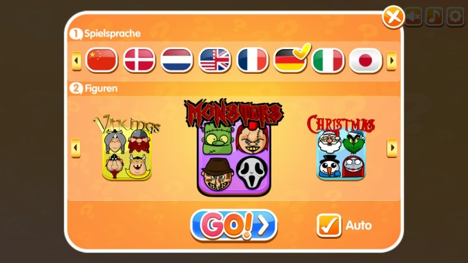 Das Bild zeigt den Auswahlscreen von Guess The Character. Man kann die Sprache und das Brett auswählen.