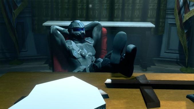 Das Bild zeigt den spieler wie er im Sessel des Präsidenten im Weißen Haus sitzt.