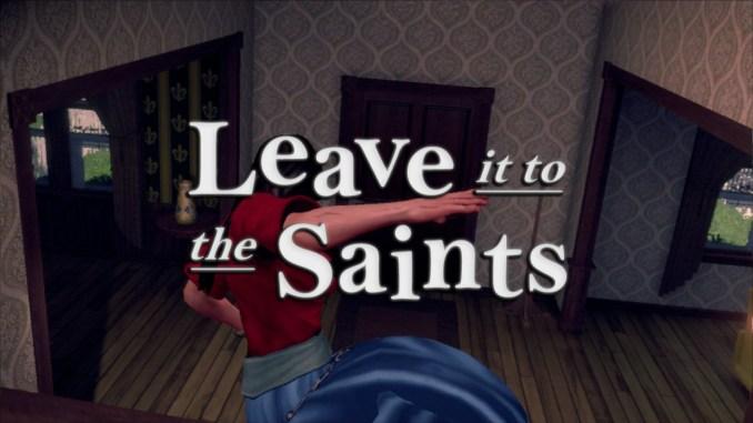"""Das Bild zeigt den Spieler, wie er ein Treppengeländer runter rutscht. Darüber steht der Schriftzug """"Leave it to the Saints""""."""