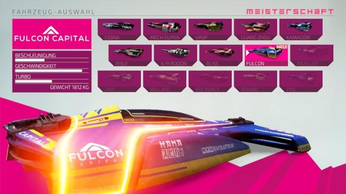 """Das Bild zeigt die Fahrzeugauswahl aus dem Racer """"Fast RMX""""."""